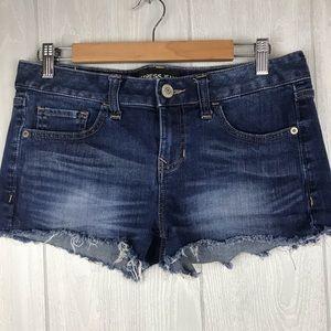 Express fringe hem dark wash denim jean shorts